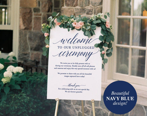 Navy Unplugged Wedding Sign, Unplugged Ceremony Sign, Unplugged Wedding, Unplugged Sign, Wedding Unplugged, PDF Instant Download #BPB320_35 - Bliss Paper Boutique
