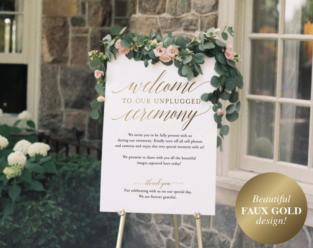 No Cell Phone Download 110-G Floral Unplugged Wedding Sign Gold Boho Personalised Unplugged Wedding Printable Sign Unplugged Welcome Sign