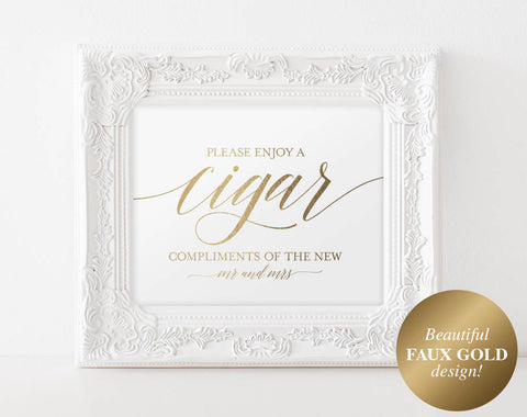 Faux Gold Cigar Bar Sign, Cigar Bar Printable, Wedding Sign, Cigar Wedding Sign, Wedding Cigar Bar, PDF Instant Download #BPB324_79 - Bliss Paper Boutique