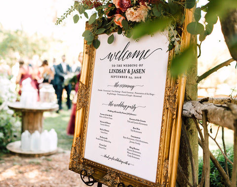 Wedding program Sign, Welcome Wedding Sign, Program Sign, Wedding Sign, Wedding Poster, Template, DIY, PDF Instant Download #BPB310_60 - Bliss Paper Boutique