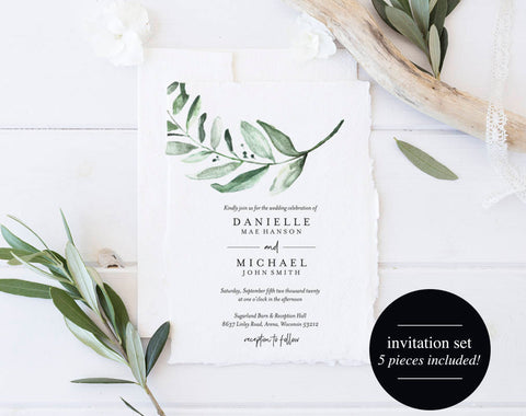 Greenery Wedding Invitation Template, Wedding Invite, Eucalyptus Wedding Invitation, Wedding Template, PDF Instant Download #BPB330_1 - Bliss Paper Boutique