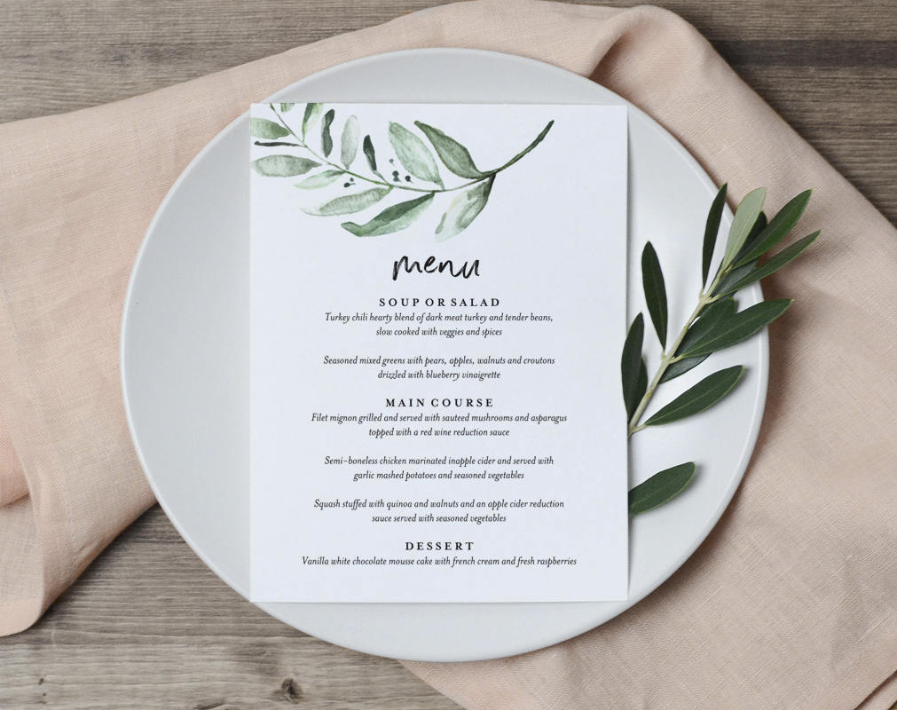 greenery wedding menu template wedding menu cards wedding menu