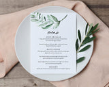 Greenery Wedding Menu Template, Wedding Menu Cards, Wedding Menu Sign, Wedding Menu Printable, Greenery, PDF Instant Download #BPB330_4B - Bliss Paper Boutique