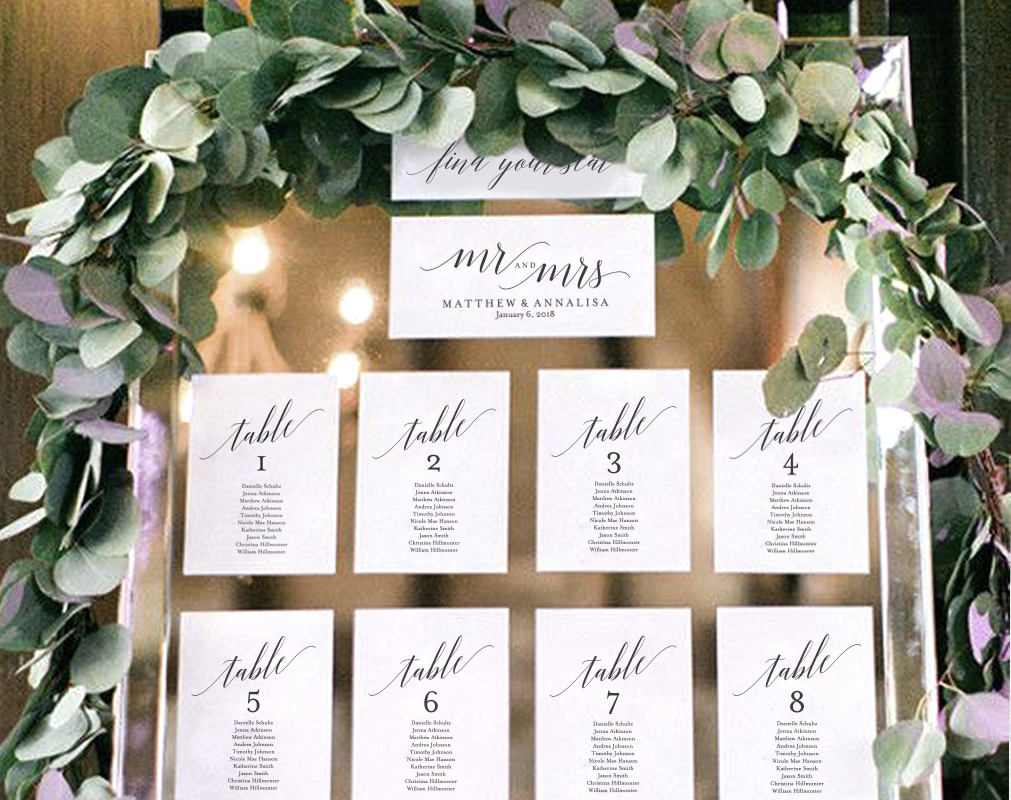 Wedding Seating Chart Template Display Cards Table