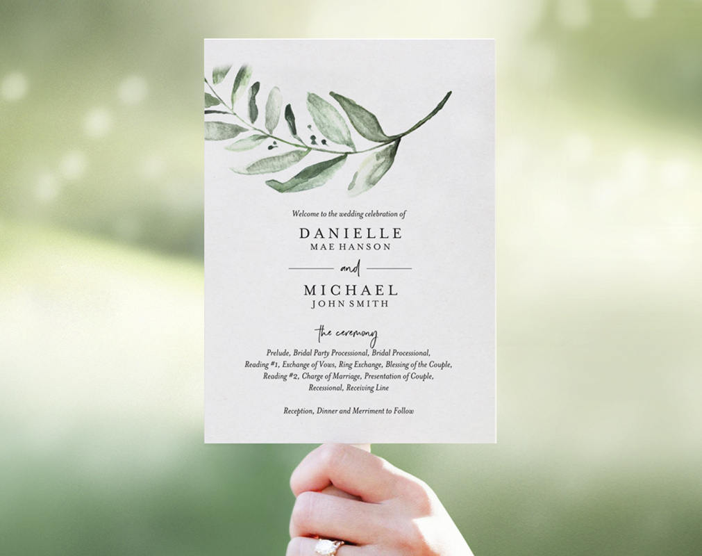 Wedding Program Fan Template Download Bliss Paper