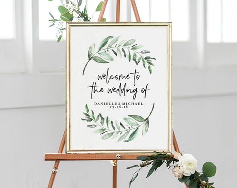 Greenery Wedding Sign, Welcome Sign, Welcome Wedding Sign, Sign Printable, Bliss Paper Boutique, PDF Instant Download #BPB330_59 - Bliss Paper Boutique