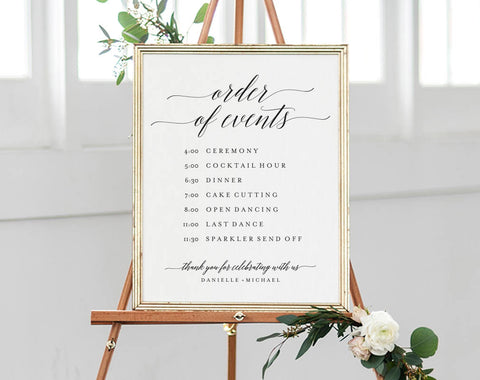 Order of Events Sign, Wedding Timeline Sign, Wedding Sign, Wedding Itinerary, Bliss Paper Boutique, PDF Instant Download #BPB310_84 - Bliss Paper Boutique