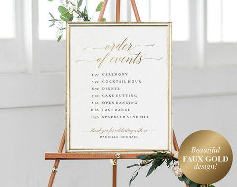 Faux Gold Order of Events Sign, Wedding Timeline Sign, Wedding Sign, Wedding Itinerary, Bliss Paper Boutique, Instant Download #BPB324_84 - Bliss Paper Boutique