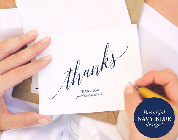 Navy Thank You Cards, Thank You Notes, Thank You Cards Wedding, Wedding Printable, Navy Wedding, PDF Instant Download #BPB320_27 - Bliss Paper Boutique