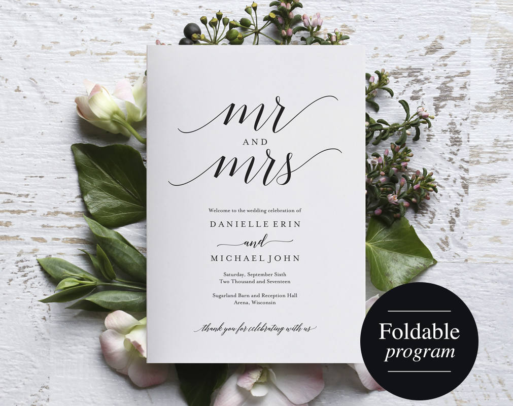 Folded Wedding Program Template Folded Wedding Program Printable