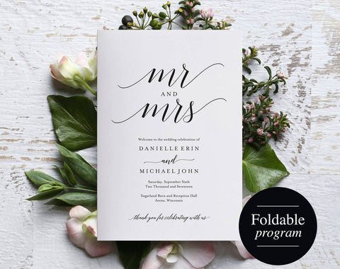 Folded Wedding Program Template, Folded Wedding Program Printable, Bliss Paper Boutique, Program Template, PDF Instant Download #BPB310_3_2 - Bliss Paper Boutique