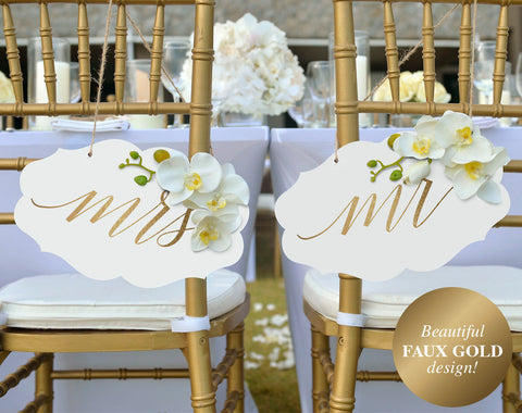 Wedding Chair Signs, Mr and Mrs Wedding Signs, Gold Wedding Decor, Chair Sign, Bliss Paper Boutique, PDF Instant Download #BPB324_23_1 - Bliss Paper Boutique