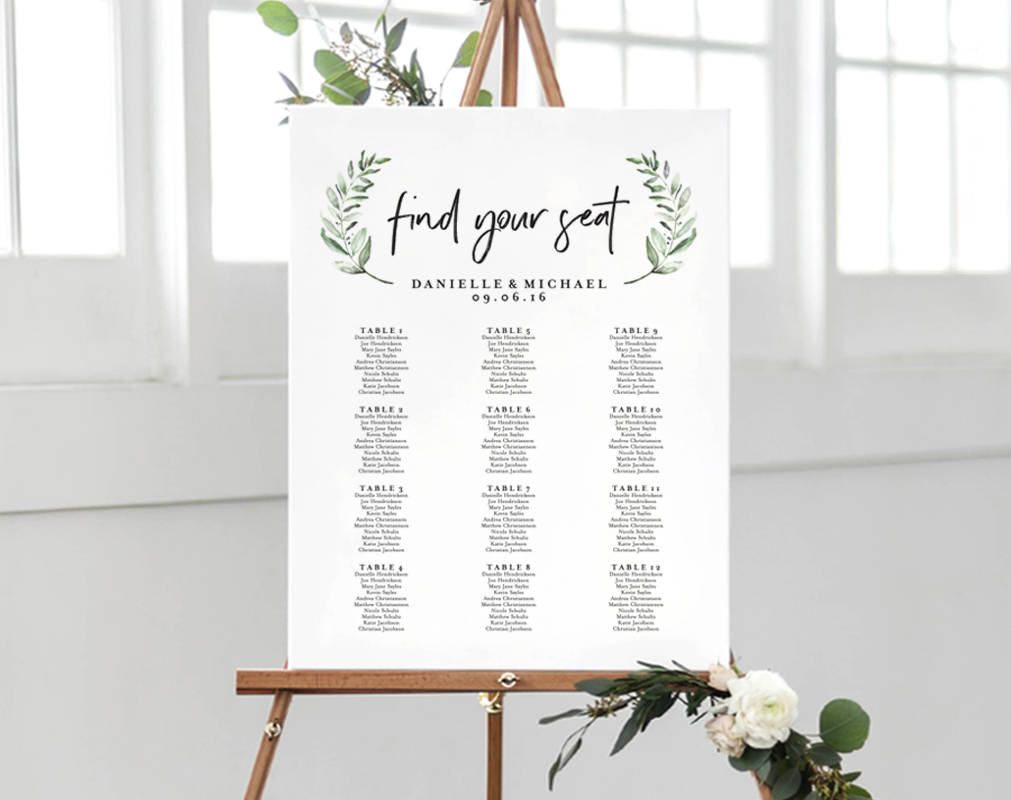 Greenery Wedding Sign Seating Chart Sign Wedding Seating Chart