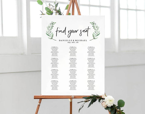 Greenery Wedding Sign, Seating Chart Sign, Wedding Seating Chart Template, Template Alphabetical, PDF Instant Download #BPB330_52 - Bliss Paper Boutique