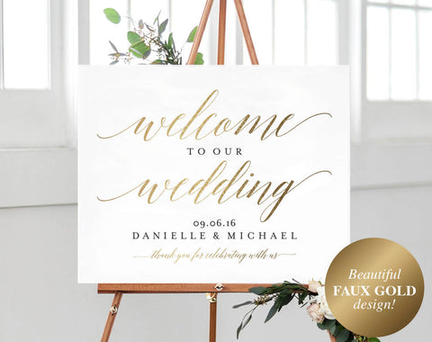 Faux Gold Welcome Wedding Sign, Welcome Wedding Printable, Welcome Sign Printable, Bliss Paper Boutique, PDF Instant Download #BPB324_59B - Bliss Paper Boutique