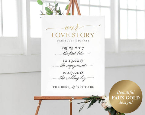Love Story Sign Printable, Love Story Timeline, Wedding Love Sign, Wedding Love Story, Bliss Paper Boutique, PDF Instant Download #BPB324_87 - Bliss Paper Boutique