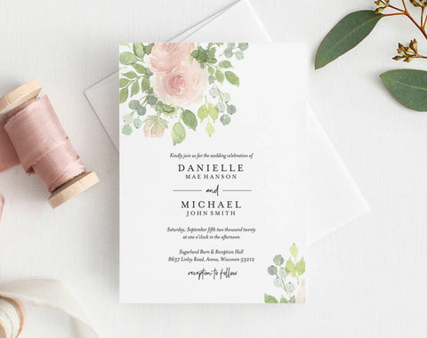 Floral Wedding Invitation Template, Wedding Invitation, Wedding Invitation Suite, Bliss Paper Boutique, PDF Instant Download #BPB333_1 - Bliss Paper Boutique
