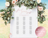 Faux Rose Gold Wedding Seating Chart, Seating Chart Wedding, Seating Chart Template, Seating Chart Sign, Wedding Sign, #BPB334_52 - Bliss Paper Boutique