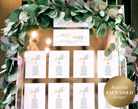 Faux Gold Wedding Seating Chart Template, Seating chart Display, Wedding Seating Cards, Table Cards, PDF Instant Download #BPB324_5 - Bliss Paper Boutique