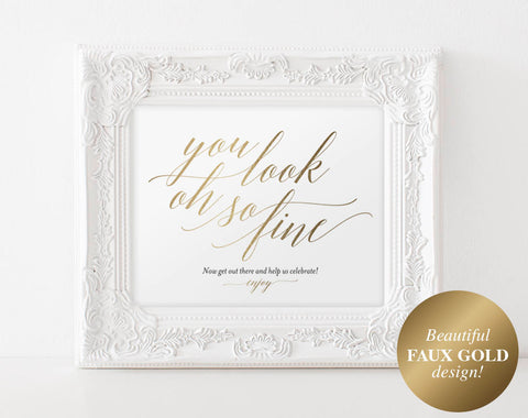 Faux Gold Wedding Bathroom Signs, Wedding Sign, Wedding Printable, Bathroom Printable, Look oh so, PDF Instant Download #BPB324_63 - Bliss Paper Boutique