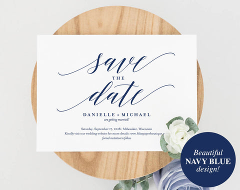 Navy Save the Date Template, Save the Date Cards, Save the Date Printable, Postcard, Bliss Paper Boutique, PDF Instant Download #BPB320_2B - Bliss Paper Boutique
