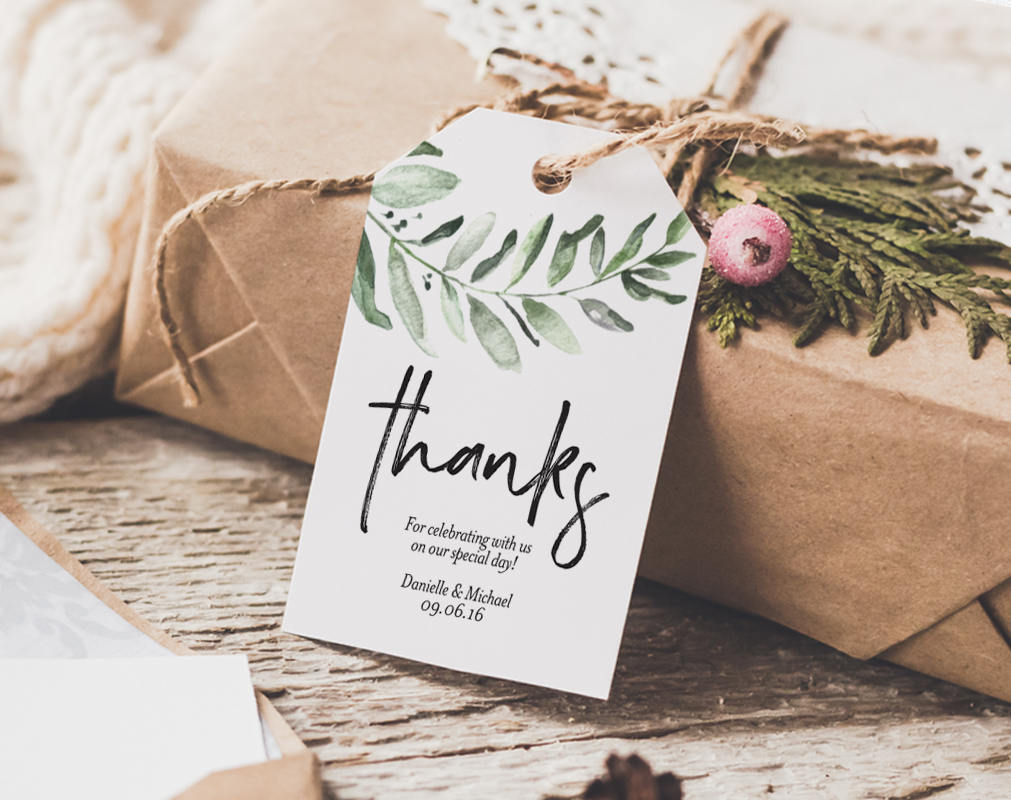 greenery thank you tag  wedding thank you tags  gift tags  wedding fav  u2013 bliss paper boutique