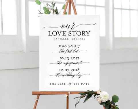Love Story Sign Printable, Love Story Timeline, Wedding Love Sign, Wedding Love Story, Bliss Paper Boutique, PDF Instant Download #BPB310_87 - Bliss Paper Boutique