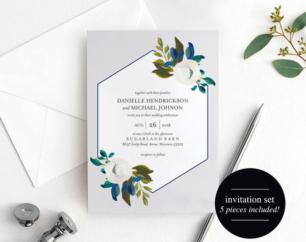 Greenery Wedding Invitation Template, Wedding Invite, Navy Wedding Invitation, Gray, Wedding Template, PDF Instant Download #BPB335_1 - Bliss Paper Boutique
