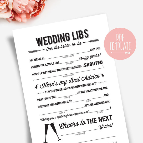 Wedding Shower Mad Libs, Bridal Shower Mad Libs, Bridal Shower Games, Mad Libs Bridal Shower, Bliss Paper Boutique #BPB41 - Bliss Paper Boutique