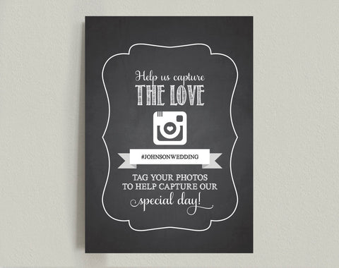 Wedding hashtag sign, Wedding Reception Sign, Capture the Love Sign, Chalkboard Wedding Printable, Template, PDF INSTANT DOWNLOAD #BPB69 - Bliss Paper Boutique