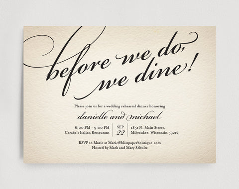 Wedding Rehearsal Dinner Invitation Editable Template - Before we do, we dine! - Rustic PDF Instant Download  #BPB88 - Bliss Paper Boutique