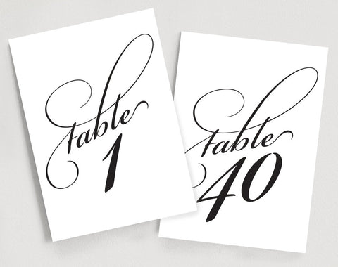 Printable Table Numbers Instant Download 1-40 - Elegant Script Table Numbers - 5x7 Table Numbers Template #BPB92 - Bliss Paper Boutique