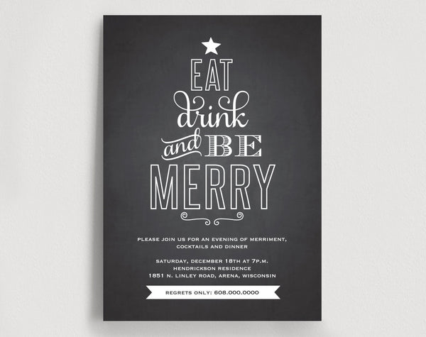 Christmas Invitation Printable, Christmas Party, Holiday Party Invitation, Eat Drink and Be Merry Invitation, Instant Download #BPB166 - Bliss Paper Boutique