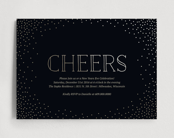 New Years Invitation, New Year Party Invitation, Printable Invitation, Invite, Gold, Confetti, Cheers Invitation, Instant Download #BPB172 - Bliss Paper Boutique