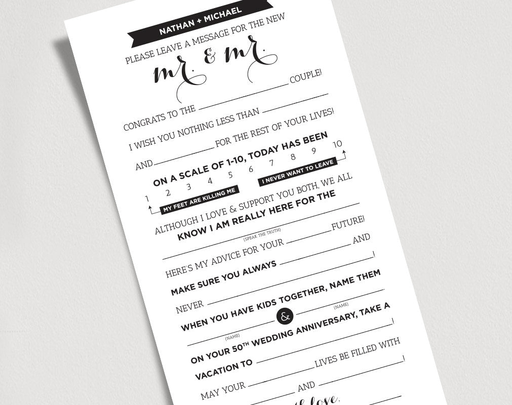 graphic regarding Printable Wedding Mad Libs known as Wedding day Insane Libs Printable Template Kraft Indicator - Mr and Mr, Groom and Groom/Card/Activity - Romance Suggestions Keepsake #BPB103MM