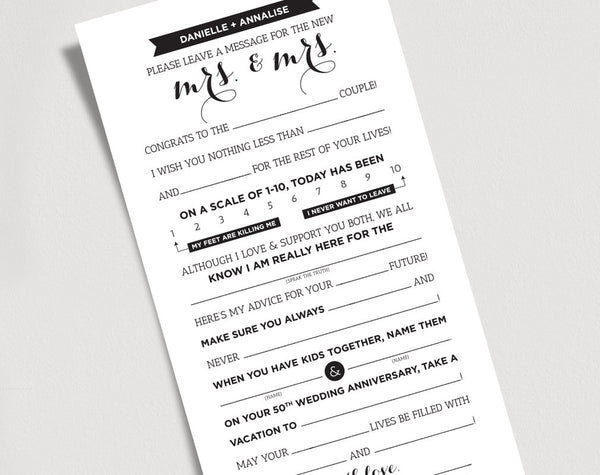 Wedding Mad Libs Printable Template Kraft Sign - Mrs and Mrs, Bride and Bride/Card/Game - Marriage Advice Keepsake #BPB103WW - Bliss Paper Boutique