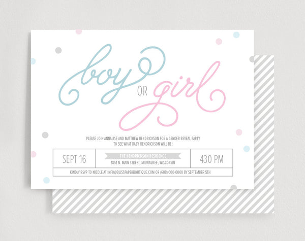 Gender Reveal Invitation, Confetti Gender Reveal Party Invitation, Invite, Baby Reveal, Baby Shower, Boy or Girl?, Instant Download #BPB215_1 - Bliss Paper Boutique
