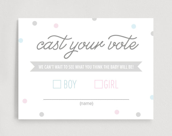 Gender Reveal Voting Cards, Cast Your Vote, Gender Reveal Party Games, Baby Shower Games, Boy or Girl, PDF Instant Download #BPB215_7 - Bliss Paper Boutique