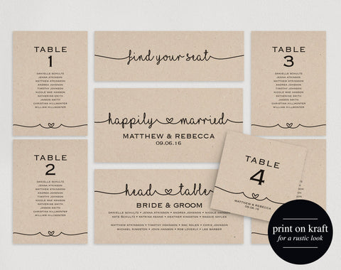 Wedding Seating Chart, Seating Plan Template, DIY Printable, PDF, Table Cards, Seating Cards, Wedding Sign, Instant Download #BPB140_5 - Bliss Paper Boutique