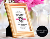Wedding Hashtag Sign, Oh Snap Wedding Sign, Wedding Reception Sign, Wedding Printable, Template, PDF Instant Download #BPB236 - Bliss Paper Boutique