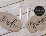 Bride Groom Chair Sign, Bride Groom Signs, Chair Signs Wedding, Wedding Chair Signs, Wedding Sign, PDF Instant Download #BPB203_23 - Bliss Paper Boutique