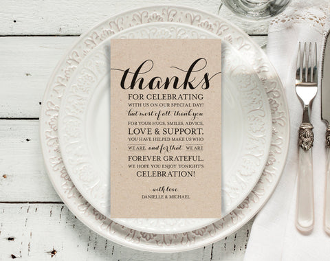 Wedding Thank You Printable Template, Printable Thank you, Thank You Card Template, Wedding Printable, PDF Instant Download #BPB133_14 - Bliss Paper Boutique