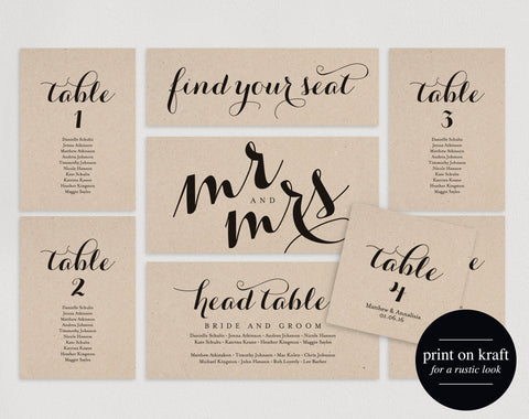 Wedding Seating Chart, Seating Plan Template, Wedding Seating Cards, Table Cards, Seating Cards, PDF Instant Download #BPB133_5 - Bliss Paper Boutique