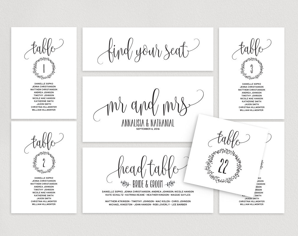 Wedding Seating Chart, Seating Plan Template, Wedding Seating Cards, Table  Cards, Seating Cards, PDF Instant Download #BPB8_8
