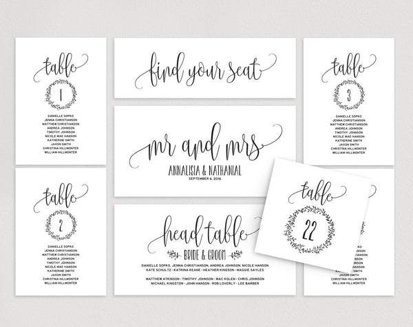 Wedding Seating Chart, Seating Plan Template, Wedding Seating Cards, Table Cards, Seating Cards, PDF Instant Download #BPB224_5 - Bliss Paper Boutique