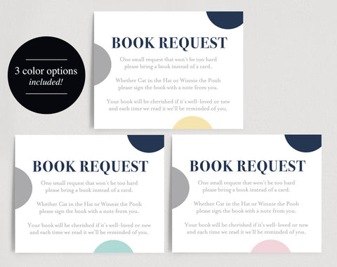 Book Request Card, Books for the Baby, Baby Shower Book Request, Bring a Book, Book Request Baby Shower, PDF Instant Download #BPB94_2 - Bliss Paper Boutique