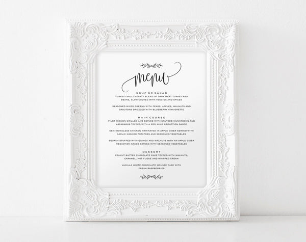 Wedding Menu Sign, Wedding Menu Printable, 8x10 Menu, Menu Printable Sign, Wedding Printable, Editable Menu, PDF Instant Download #BPB202_29 - Bliss Paper Boutique