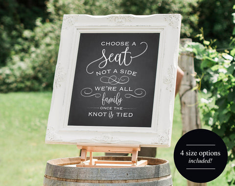 Choose a Seat not a Side Sign, Chalkboard Wedding Sign, Wedding Welcome Sign, Printable Wedding Sign, PDF Instant Download #BPB307 - Bliss Paper Boutique