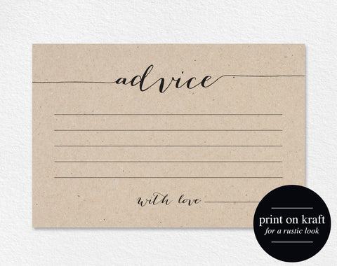 Wedding Advice Card, Advice Printable, Advice Template, Marriage Advice Keepsake, Wedding Printable, PDF Instant Download, #BPB165_15 - Bliss Paper Boutique