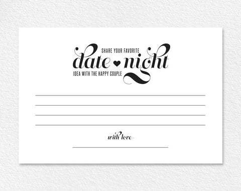 Date Night Ideas Card, Date Night Card, Wedding Advice Card, Wedding Advice Printable, Marriage Advice , PDF Instant Download #BPB42_16 - Bliss Paper Boutique